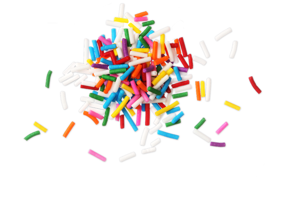 Small pile of rainbow sprinkle confetti on a clear background