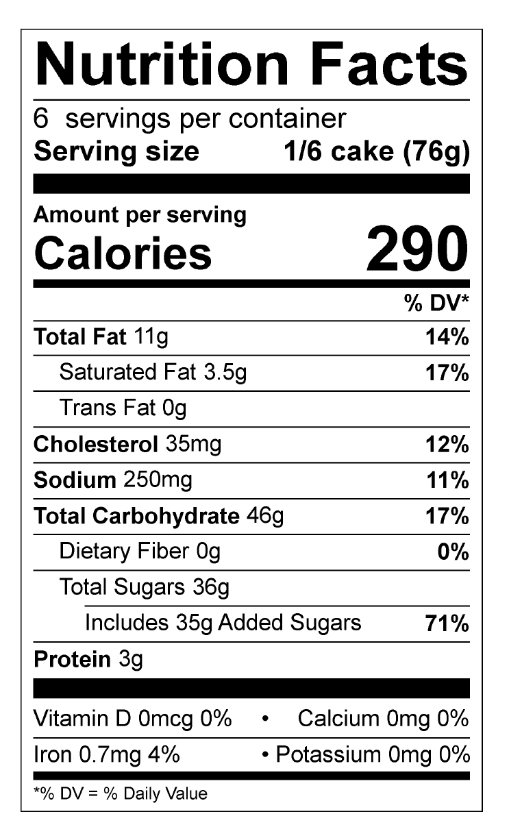 Confetti Cake Roll Nutrition Facts Panel