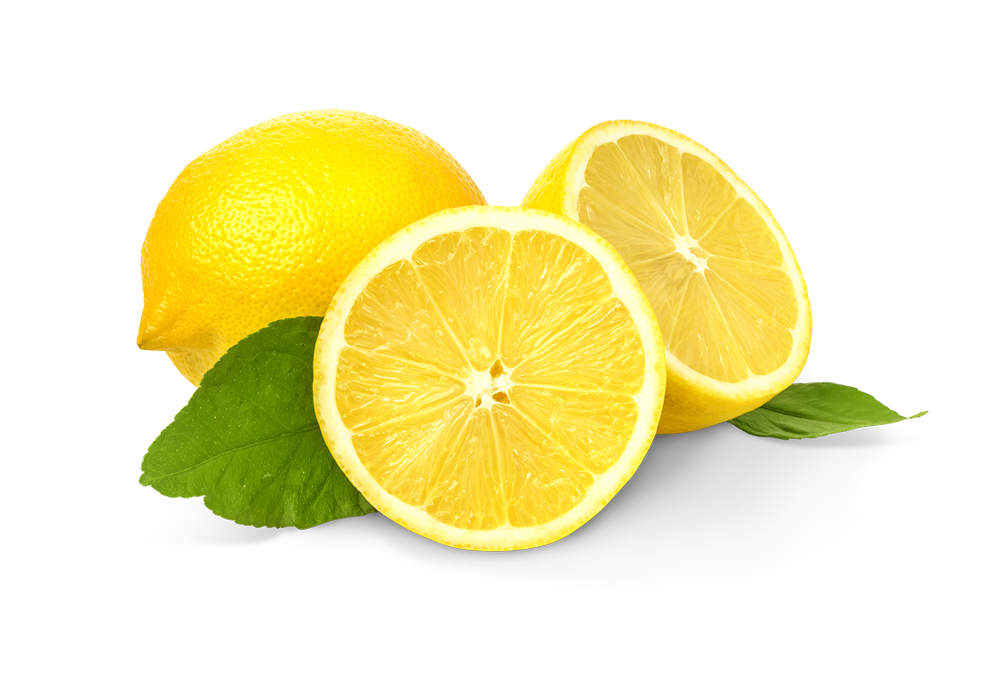 A sliced lemon by another full lemon sitting on a white background