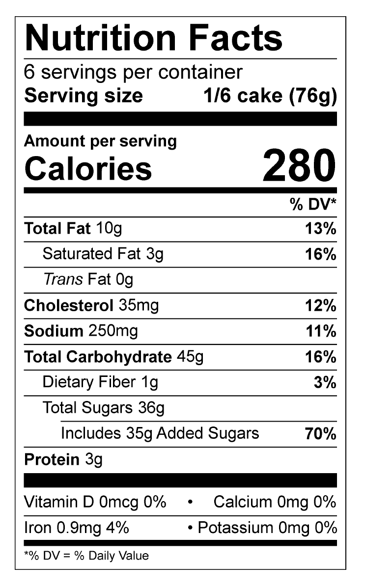 Pumpkin Cake Roll Nutrition Facts Panel
