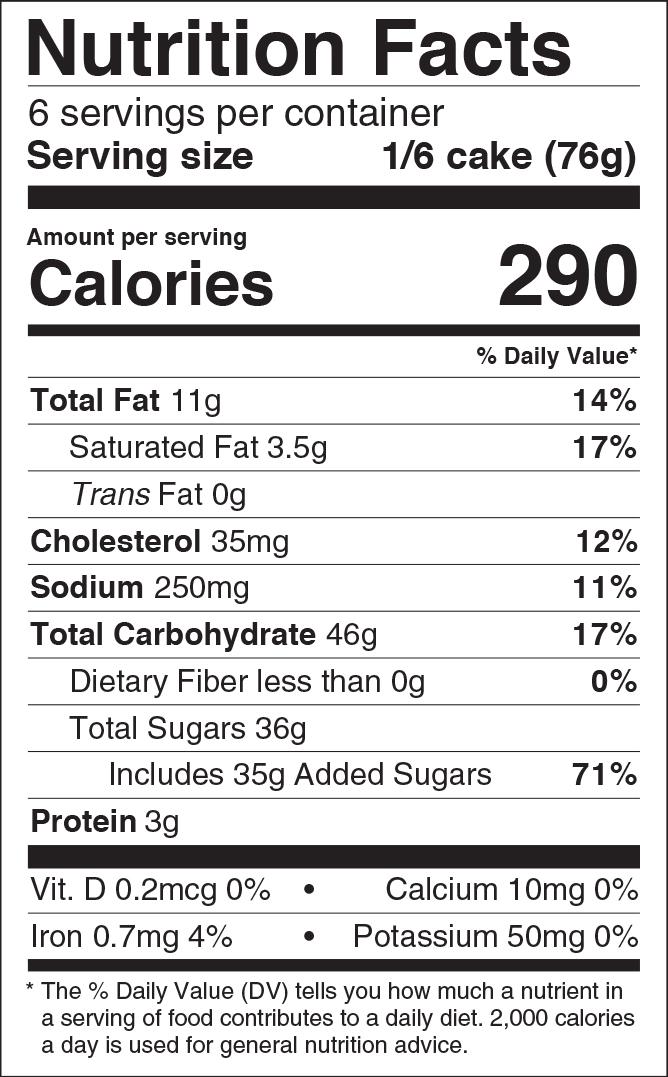 Confetti Cake Roll Nutritional Panel