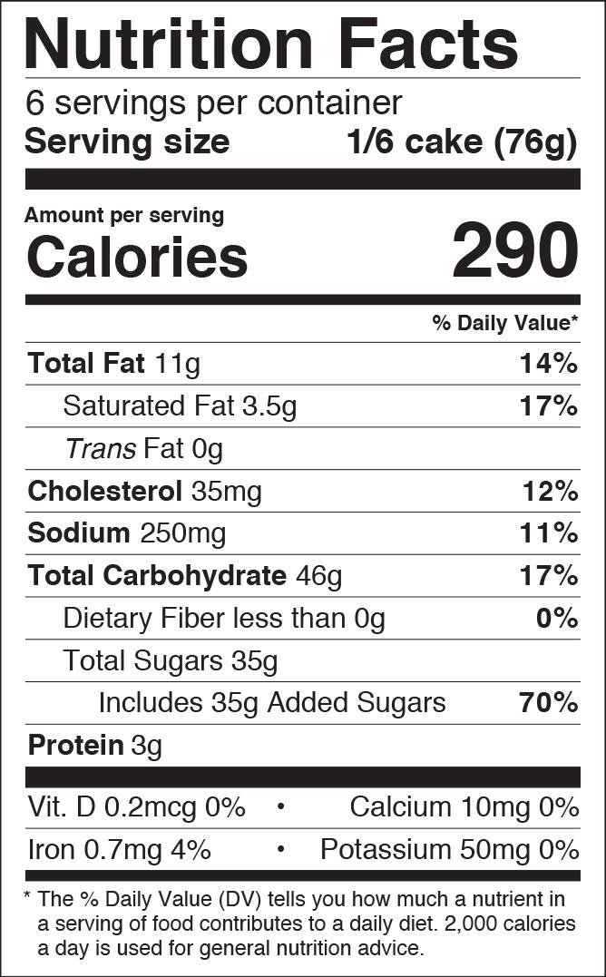 Lemon Cake Roll Nutritional Panel